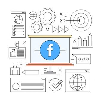 Liniowy style ikony minimal www i business elementy społecznościowe