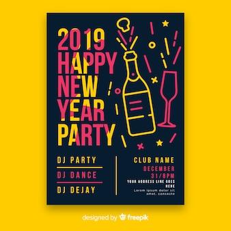 Liniowy szampan nowy rok plakat szablon