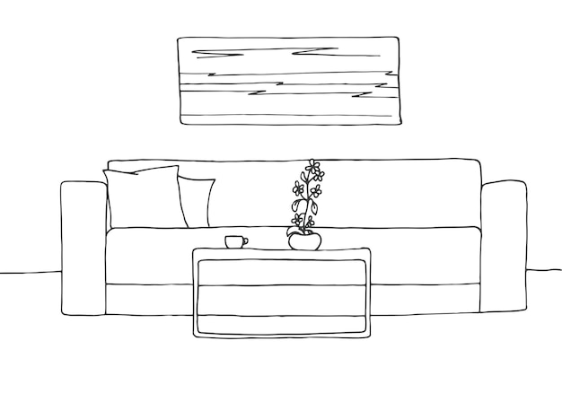 Liniowy szkic wnętrza. plan pokoju. ilustracja wektorowa. liniowy szkic wnętrza.