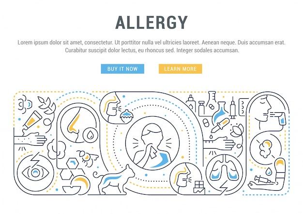 Liniowy sztandar alergii.