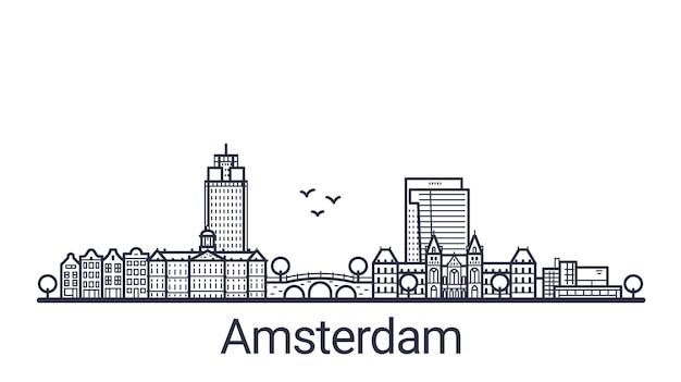 Liniowy sztandar miasta amsterdam. wszystkie budynki w amsterdamie - konfigurowalne obiekty z maską krycia, dzięki czemu można łatwo zmieniać kompozycję i wypełnienie tła. grafika liniowa.