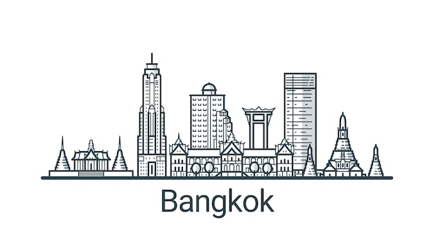 Liniowy sztandar miasta bangkok. wszystkie budynki - konfigurowalne różne obiekty z wypełnieniem w tle, dzięki czemu można zmienić kompozycję projektu. grafika liniowa.