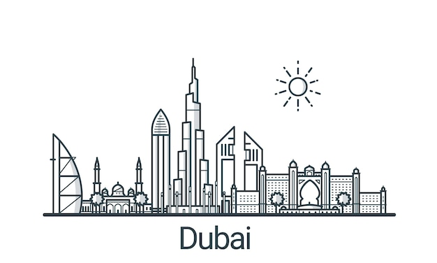 Liniowy sztandar miasta dubaj. wszystkie budynki - konfigurowalne różne obiekty z wypełnieniem w tle, dzięki czemu można zmienić kompozycję projektu. grafika liniowa.