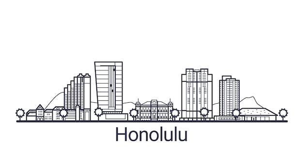 Liniowy sztandar miasta honolulu. wszystkie budynki w honolulu