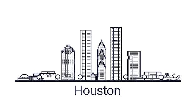 Liniowy sztandar miasta houston. wszystkie budynki