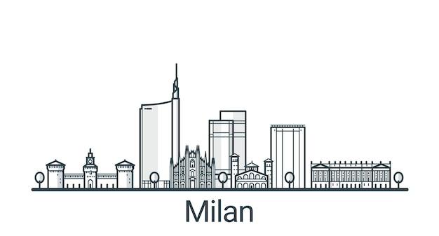 Liniowy sztandar miasta mediolan. wszystkie budynki