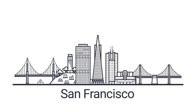Liniowy sztandar miasta san francisco. wszystkie sztuki budynków w san francisco.