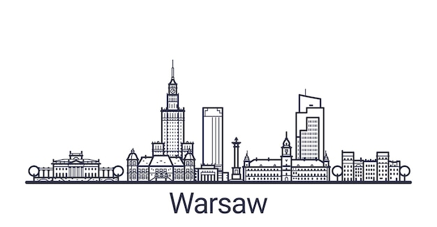Liniowy sztandar miasta warszawy. wszystkie warszawskie budynki
