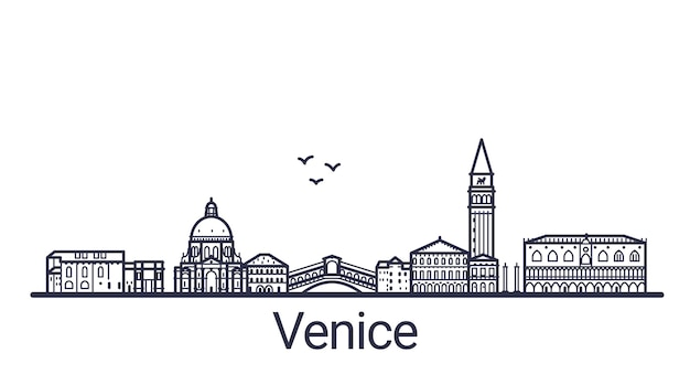 Liniowy sztandar miasta wenecji w wyciągnąć rękę