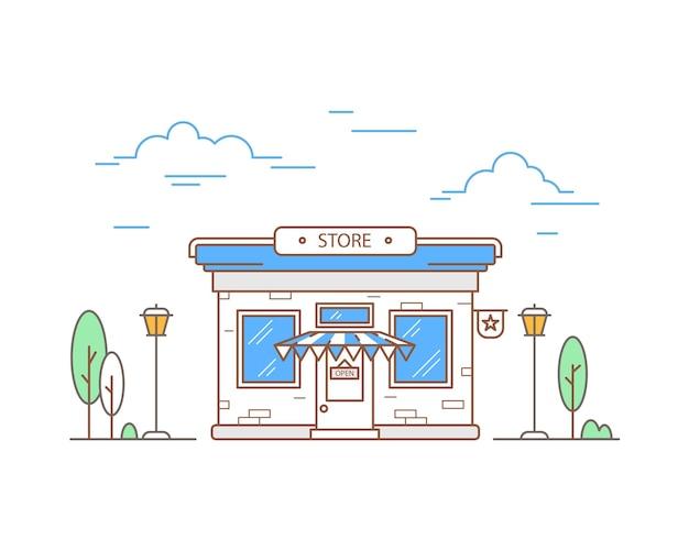 Liniowy wygląd zewnętrzny sklepu. widok z przodu okna sklepu. kolorowy zarys sklepu i drzew. ilustracja wektorowa.
