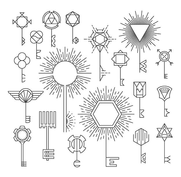 Liniowy zestaw kluczy, styl hipster, logotypy i znaki, elementy projektu.