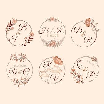 Liniowy zestaw monogramów ślubnych o płaskiej konstrukcji