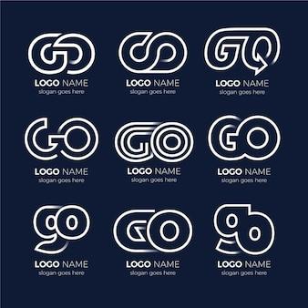 Liniowy zestaw szablonów logo flat go