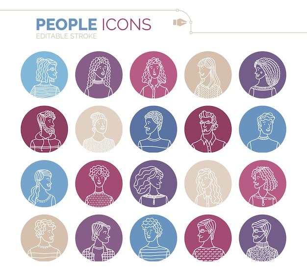 Liniowych ludzi ikony zestaw ilustracji