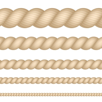 Liny żeglarskie, morskie, morskie, sznurka zestaw na białym tle. ilustracja.