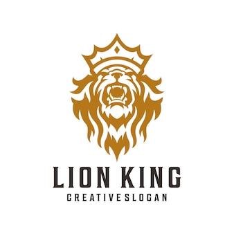 Lion king luxury logo, crown lion, royal lion illustration