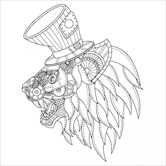Lion steampunk ilustracja lineal style