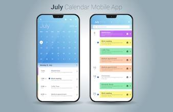 Lipiec kalendarz aplikacji mobilnej światło wektor UI
