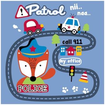 Lis policja miejska zabawna kreskówka zwierzęca