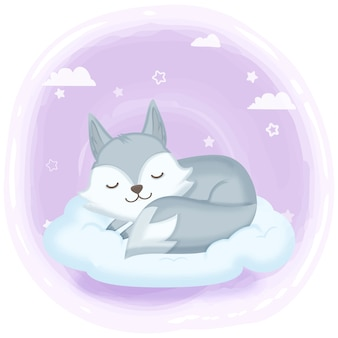 Lis śpi na obłocznej ręka rysującej ilustraci