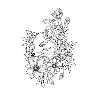 Lis w kwiatach.