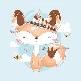 Lis w leśnych ubraniach z pszczołami