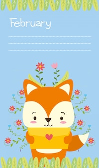 Lis z list miłosny śliczną zwierzęcą kreskówką i mieszkanie projektujemy, ilustracja