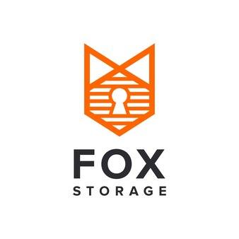 Lis z miejscem do przechowywania i dziurką od klucza prosty, elegancki, kreatywny, geometryczny, nowoczesny projekt logo