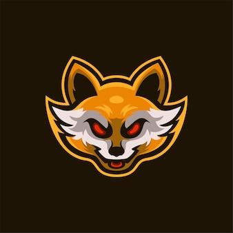 Lis zwierząt głowy kreskówka logo szablon ilustracja. gry z logo e-sportu premium wektor