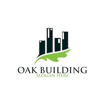 Liść dębu budynku wektor logo na białym tle. szablony logo.