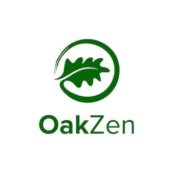 Liść dębu i symbole zen prosty elegancki kreatywny geometryczny nowoczesny projekt logo