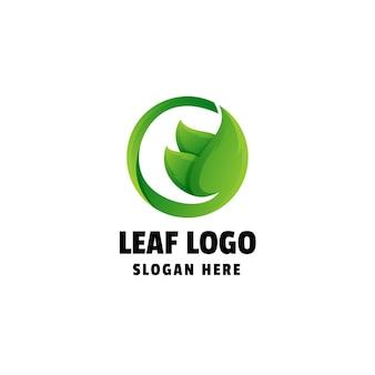 Liść gradientowe kolorowe logo design