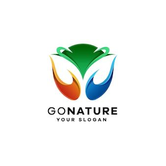 Liść gradientowe kolorowe logo