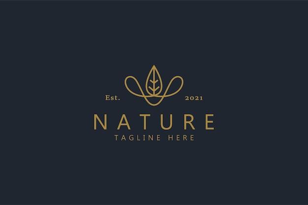 Liść i lina naturalne kreatywne logo koncepcja. kapelusz kowbojski abstrakcyjny kształt.