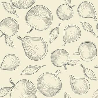 Liść jabłoni i gruszka. wzór jabłka i gruszki.