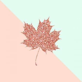 Liść klonu w kolorze różowego złota na pastelowym kolorze duo