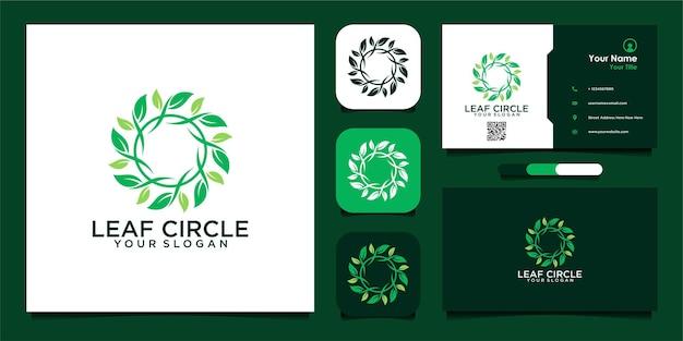 Liść koło logo projekt nowoczesna koncepcja i wizytówka wektor premium