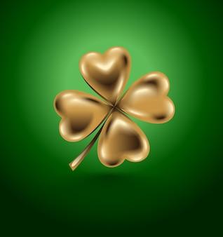 Liść koniczyny złotej, symbol dnia św. na białym tle czterolistna na zielonym tle. biżuteria