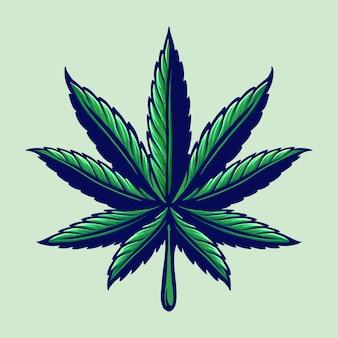 Liść konopi kolorowe ilustracje logo