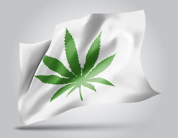 Liść konopi, wektor flaga 3d na białym tle