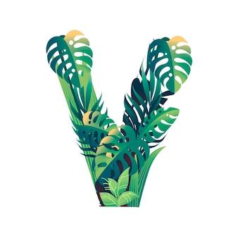 Liść litera v z różnymi rodzajami zielonych liści i liści płaski wektor ilustracja na białym tle.