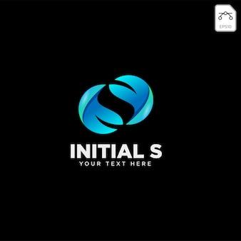 Liść litery s, początkowy szablon logo