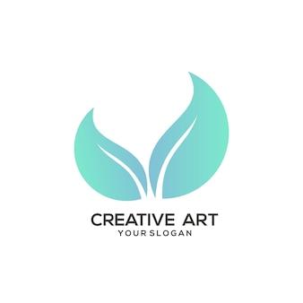 Liść logo gradientowy kolorowy design