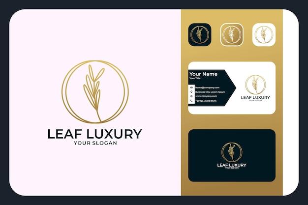 Liść luksusowa złota linia projekt logo i wizytówka