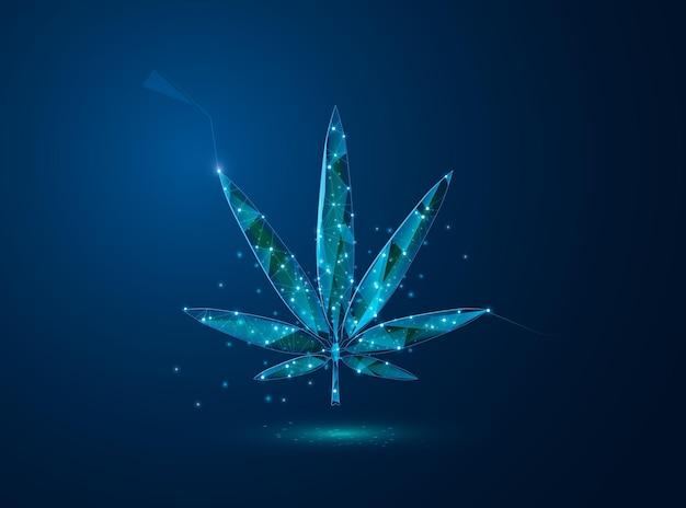 Liść marihuany. low poly niebieski.