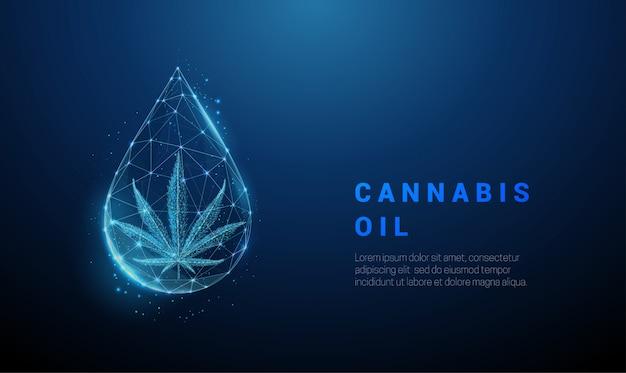 Liść marihuany low poly w kropli oleju.