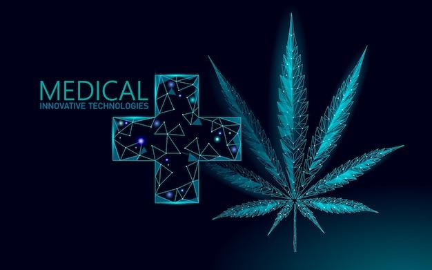Liść marihuany medycznej. legalizacja koncepcji leczenia bólu medycznego. symbol krzyża medycyny chwastów konopi. ilustracja tradycyjnej recepty stanu prawnego.