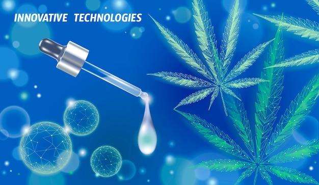 Liść medycznej marihuany. legalizacja koncepcji leczenia bólu medycznego. symbol szklanej butelki leku chwastów konopi indyjskich. pipeta przezroczysta realistyczna ilustracja na receptę.