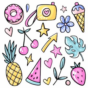Liść monstera, truskawka, wiśnia, lody, arbuz, lemoniada, kwiat.