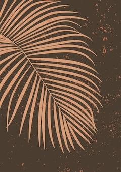 Liść palmy areca minimalistyczna grafika ścienna abstrakcyjny nadruk do estetycznego wnętrza boho